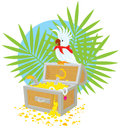 Pirate Parrot and treasure chest Royalty Free Stock Photo