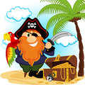 Pirate with a parrot vector illustration Royalty Free Stock Photos