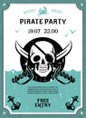 Pirate party announcement poster with skull Royalty Free Stock Photo