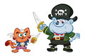 Pirate pets a cartoon style illustration of a dog and a cat fencing Stock Photography