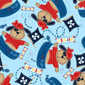 Pirate pup in his boat seamless pattern Stock Photography