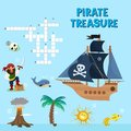 Pirate puzzle vector treasure adventure crossword puzzle maze education game for children about pirates find map sea Royalty Free Stock Photo