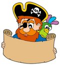 Pirate reading treasure map Royalty Free Stock Image