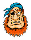 Pirate with red beard in cartoon style for mascot design Stock Image
