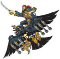 Pirate Riding Robot Crow or Raven Vector Cartoon Illustration Royalty Free Stock Photo