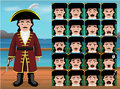 Pirate Royal Dress Cartoon Emoticon Faces Vector Illustration