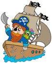 Pirate sailing on ship Royalty Free Stock Photo