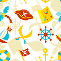 Pirate seamless pattern vector with symbols Royalty Free Stock Photography