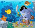 Pirate shark with treasure theme 2 Royalty Free Stock Photo