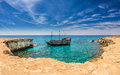 Pirate ship ayia napa cyprus a in a horseshoe cove in the sea caves at Stock Image