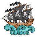 Pirate ship or boat illustration, isolated on white background, cartoon sea pirate ship, sailing ship at sea Royalty Free Stock Photo