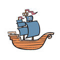 Pirate ship cartoon character of Stock Image