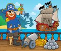 Pirate ship deck topic eps vector illustration Stock Photos