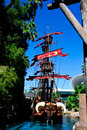 Pirate ship in front of the treasure island hotel and casino in las vegas nv Stock Photo