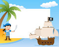 Pirate and ship photo frame post card or page for your scrapbook subject a cartoon boy on a island with a sailing boat Royalty Free Stock Photography