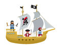 Pirate ship with pirates cartoon flat vector Royalty Free Stock Photo