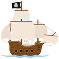 Pirate ship or sailing boat old galley galleon caravel isolated on white background Stock Photos
