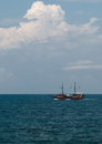 Pirate ship in the sea Royalty Free Stock Image