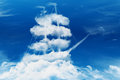 Pirate ship in the shape of a sea of clouds Royalty Free Stock Photo