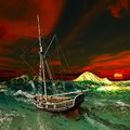 Pirate ship on stormy weather Royalty Free Stock Photo