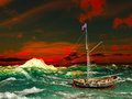 Pirate ship on stormy weather Stock Images