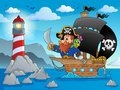 Pirate ship theme image eps vector illustration Royalty Free Stock Photography