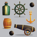Pirate ship travel and navigation items Royalty Free Stock Photo