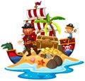 Pirate and ship at treasure island Royalty Free Stock Photo