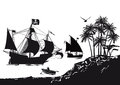 Pirate ship beside tropical island illustration of galleon with palm trees and with rowing boat coming ashore Stock Images