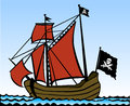 Pirate ship two masted vector illustration Stock Photos