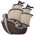 Pirate ship vector illustration of Stock Images