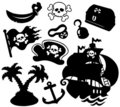 Pirate silhouettes collection Stock Images