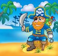 Pirate sitting on chest with ship Royalty Free Stock Images