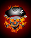 Pirate Skull Captain with Flames Background Royalty Free Stock Photo