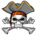 Pirate skull and crossbones wearing hat Stock Photos