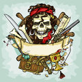 Pirate Skull logo design, vector illustrations Royalty Free Stock Photo