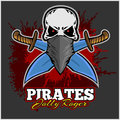 Pirate Skull in Red Headband with Cross Swords Royalty Free Stock Photo