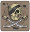 Pirate skull with swords jolly roger vector illustration isolated grouped it easy to change the colors Royalty Free Stock Photography