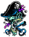 Pirate skull with treasure s keys Royalty Free Stock Image