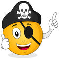 Pirate smiley with eye patch skull hat a happy halloween cartoon emoticon character thumbs up and isolated on white background eps Royalty Free Stock Photos