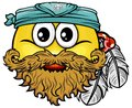 Pirate smiley vector cartoon on attribute and style Royalty Free Stock Image