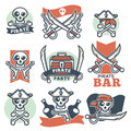 Pirate spirit logo emblems vector poster on white