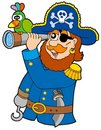 Pirate with spyglass and parrot Royalty Free Stock Photo