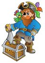 Pirate standing on treasure chest Stock Image