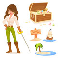 Pirate theme illustrations for kids Royalty Free Stock Images