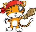 Pirate Tiger Vector Illustration Stock Photography