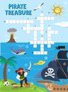 Pirate treasure adventure crossword puzzle maze education game for children about pirates find map sea labyrinth vector Royalty Free Stock Photo