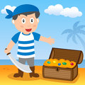Pirate with treasure on a beach cartoon boy box island Royalty Free Stock Image