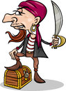 Pirate with treasure cartoon illustration of funny or corsair sword and chest Stock Photo