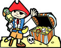Pirate with Treasure Chest Stock Photography